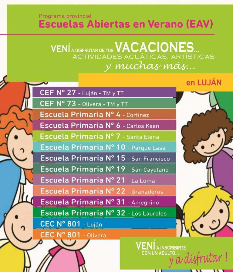 Información Municipal: Escuelas abiertas en verano – LaVoz de Luján