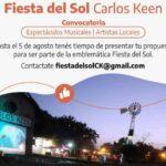 Fiesta del Sol en Carlos Keen: Convocan a artistas locales